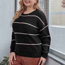 Plus Striped Drop Shoulder Sweater