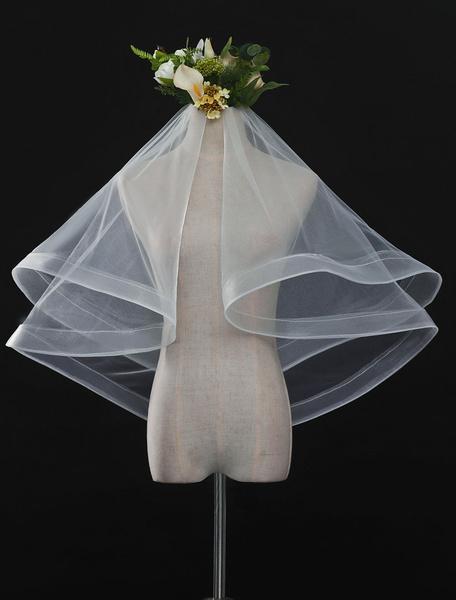 Milanoo Wedding Veil Ivory Organza Oval Bridal Veils