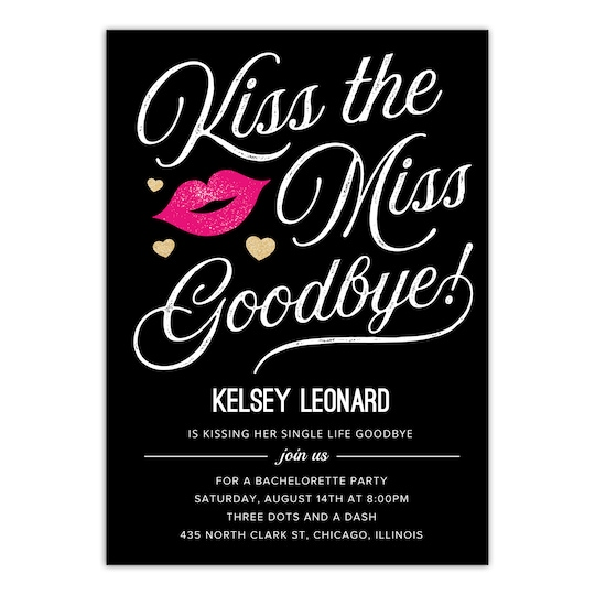 20 Pack of Gartner Studios® Personalized Kiss The Miss Flat Wedding Bachelorette Party Invitation in Black | 5