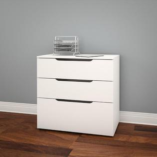 600303 Arobas Collection  3-Drawer Filing Cabinet  Solid Back Panel  Anti-Tilt Safety Wheel Device  in