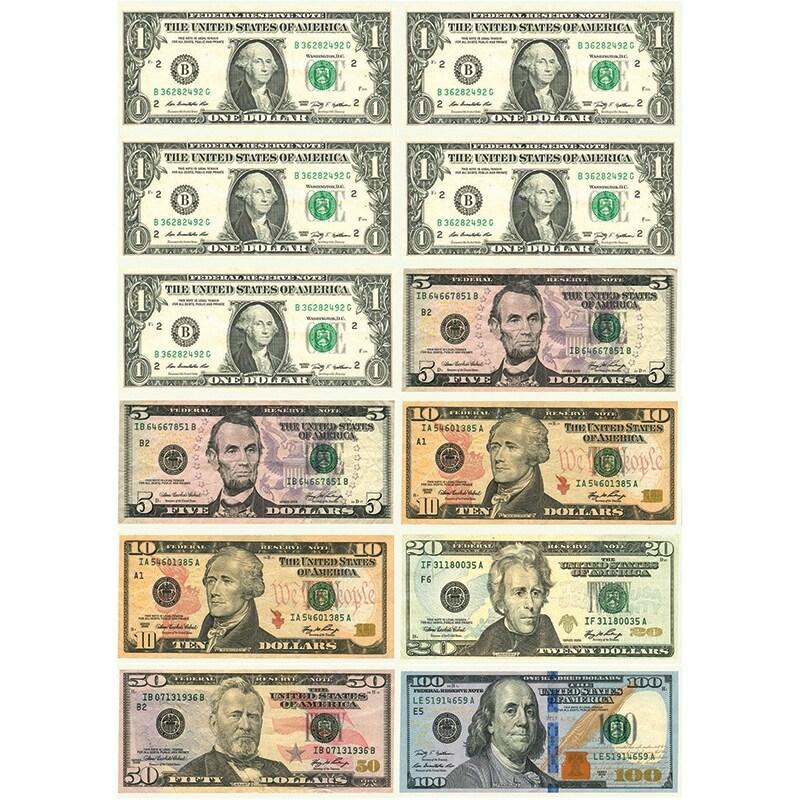 (6 Pk) Math Die Cut Magnets U.S. Dollars