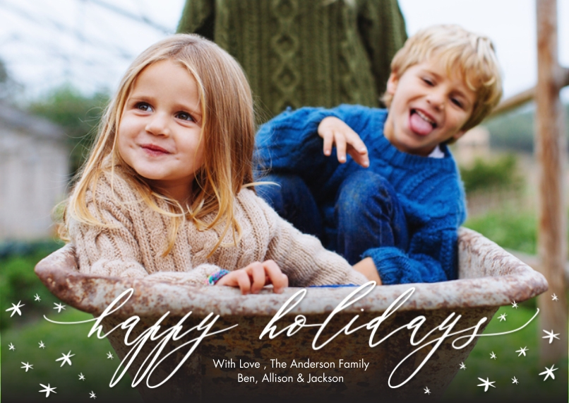 Holiday Photo Cards 5x7 Cards, Standard Cardstock 85lb, Card & Stationery -Holiday Script Scattered Stars by Tumbalina
