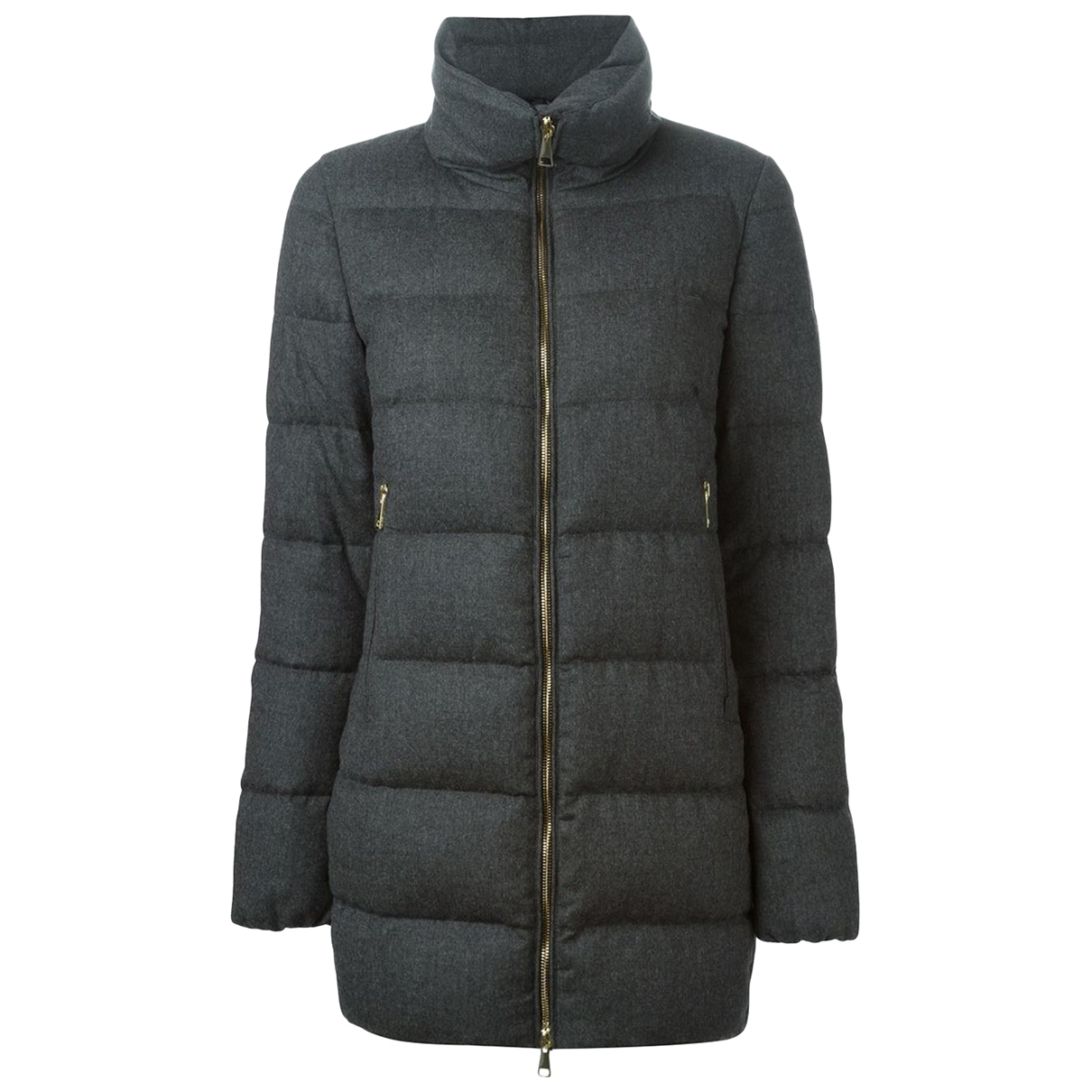 Moncler Long Maentel in  Grau Wolle