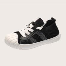 Kleinkind Maedchen Strick Sneakers mit Band vorn