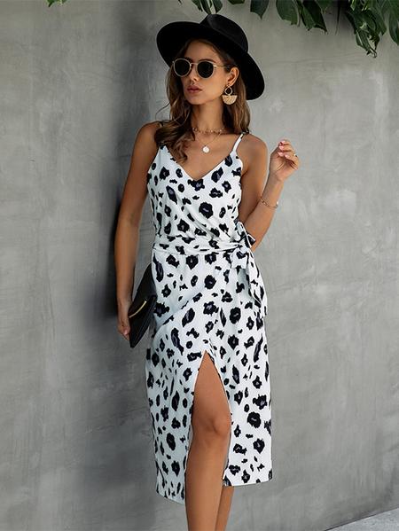 Yoins Leopard Tie-up Design Sleeveless Dress