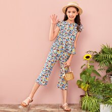 Girls Ruffle Armhole and Hem Floral Top and Pants Set