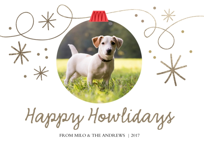 Pets Flat Glossy Photo Paper Cards with Envelopes, 5x7, Card & Stationery -Happy Howlidays Ornament