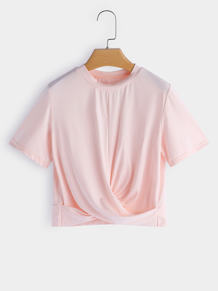 Yoins Pink Crossed Front Design Perkins Collar Short Sleeves T-shirt