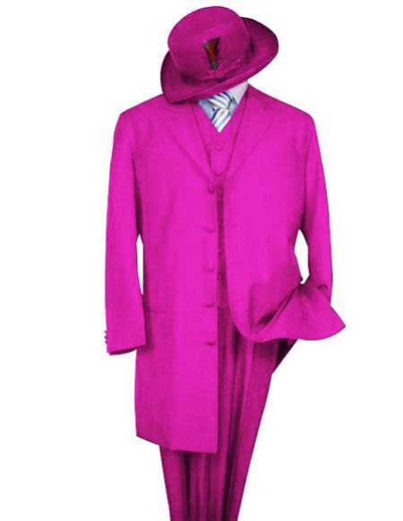 Mens Classic Pink Long Fashion Zoot Suit (Wholesale Price available)