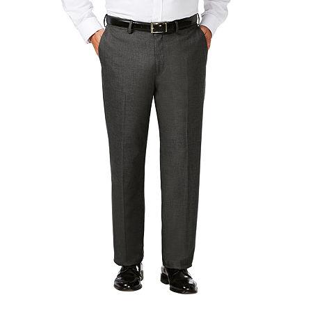 JM Haggar Classic Fit Flat Front Dress Pant-Big and Tall, 52 32, Gray