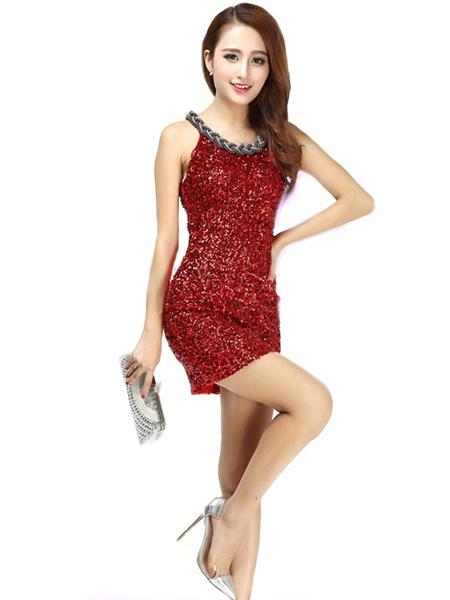 Milanoo Dance Costumes Latin Dancer Dresses Women Red Sequin Glitter Sheath Dancing Clothing Hallloween