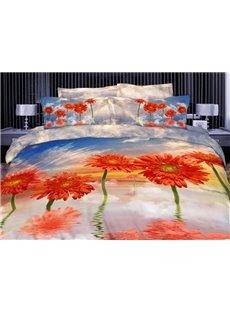 3D Orange Coneflower Printed Cotton 4-Piece Bedding Sets/Duvet Covers