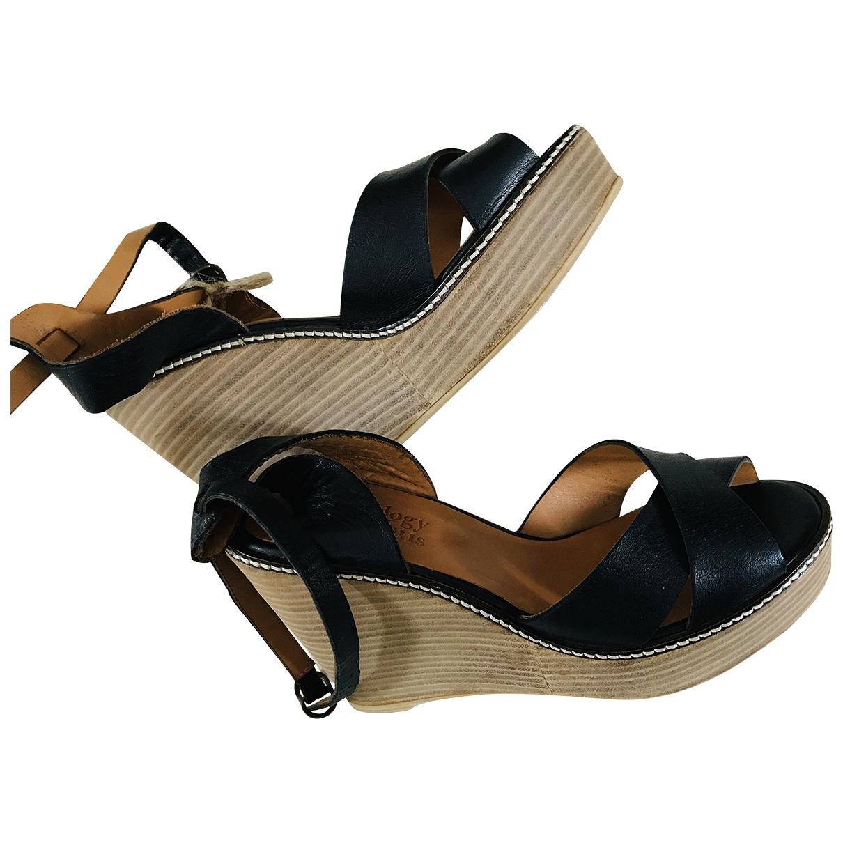 Anthology Paris \N Black Leather Sandals for Women 38 EU
