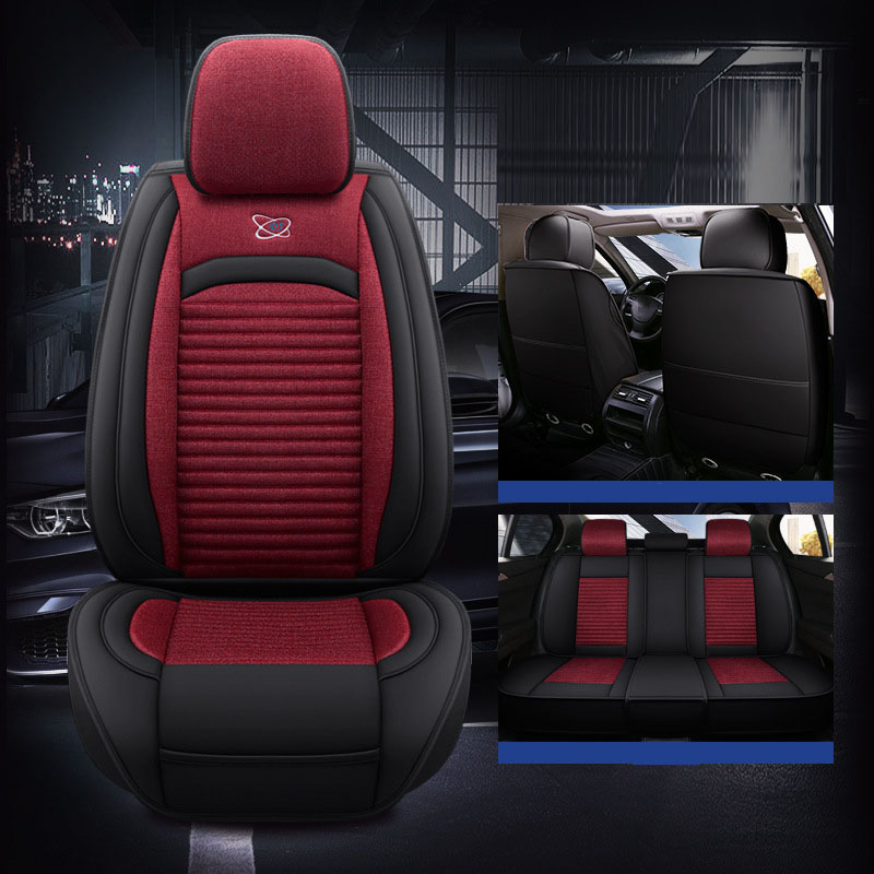 Linen Plain Cotton Business Seat Cover Non-Fading Dust proof And Wear-Resistant  Design 5 Seats Universal Truck Seat Covers
