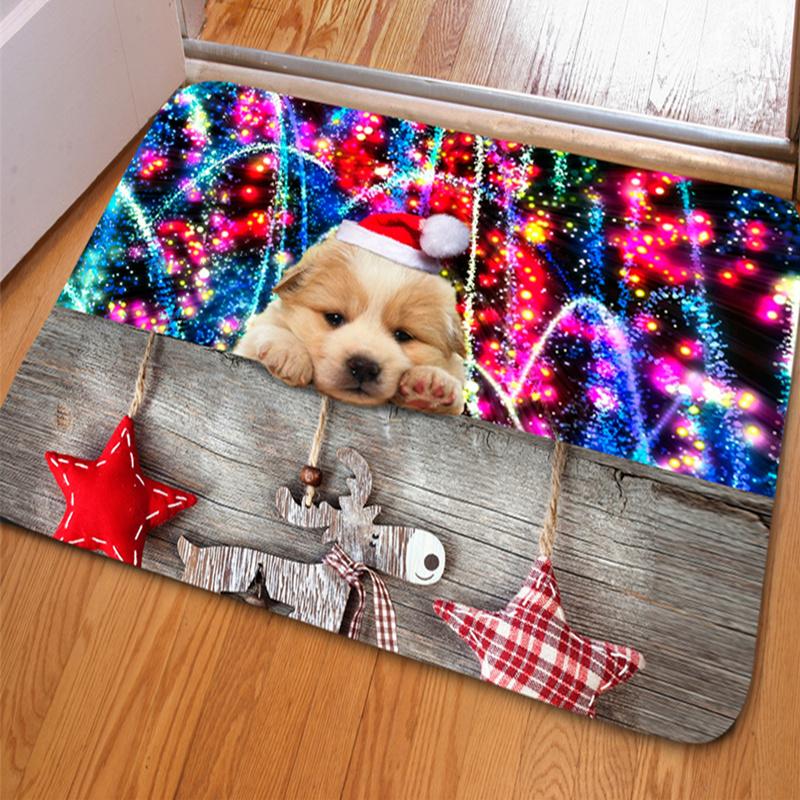 Modern Fashion Rectangle Cute Dog Christmas Decoration Non Slip Doormat