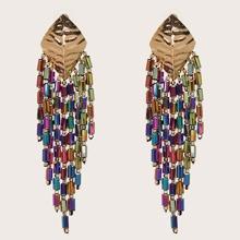 1pair Textured Tassel Drop Earrings