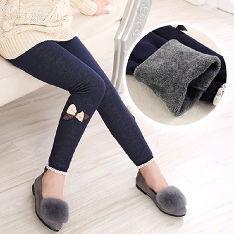 Bow-Knot Patch Girls Thicken Pants Kids Winter Leggings For 3Y-13Y