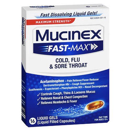 Mucinex FastMax Cold  Flu & Sore Throat Liquid Gels 24 Caps by Mucinex
