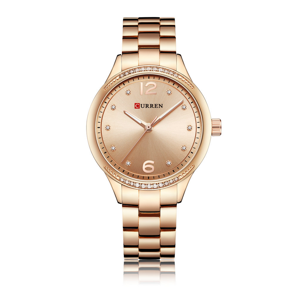 Casual Quartz Wrist Watch Stainless Steel Band Round Dial Simple Numerical Watches for Women