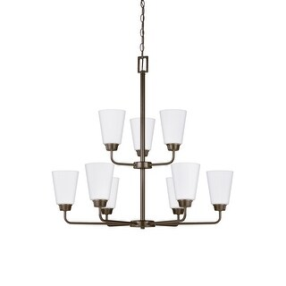Sea Gull Kerrville 9-light Satin Etched Glass Chandelier (Heirloom Bronze)
