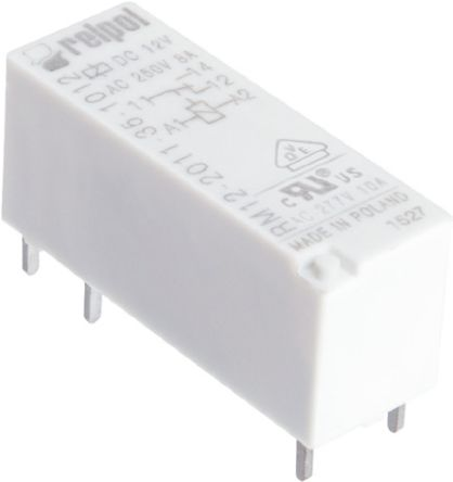 Relpol , 24V dc Coil Non-Latching Relay, 8A Switching Current PCB Mount Single Pole