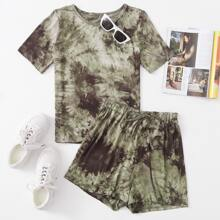 Tie Dye Tee & Knot Front Shorts