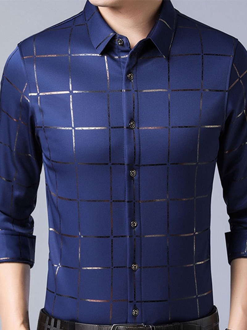 Ericdress Plaid Mandarin Collar Japanese Slim Single-Breasted Men's Shirt