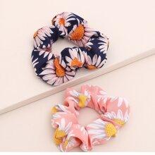 2pcs Floral Pattern Scrunchie
