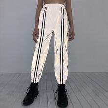 Girls Striped Tape Front Reflective Pants