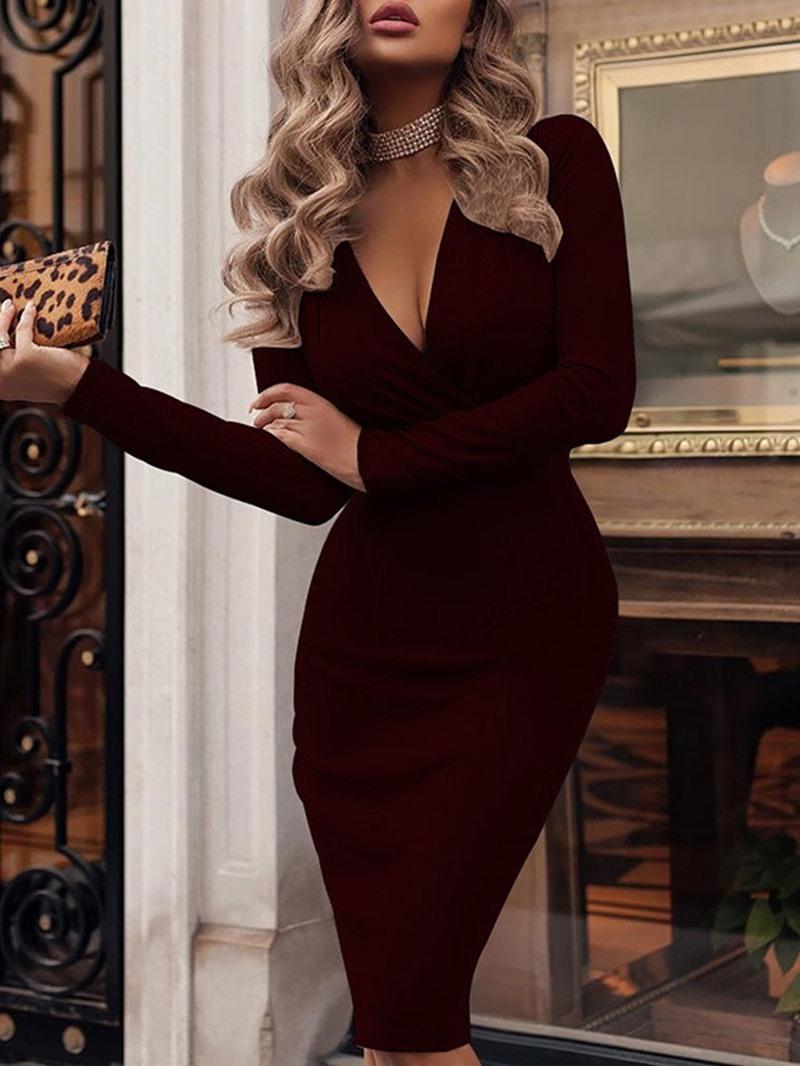 Ericdress V-Neck Long Sleeve Mid-Calf High Waist Elegant Dress