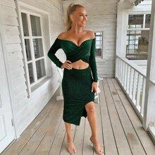 Kleid mit Kreuzgurt, Wickel Design, Schlitz und Glitzer