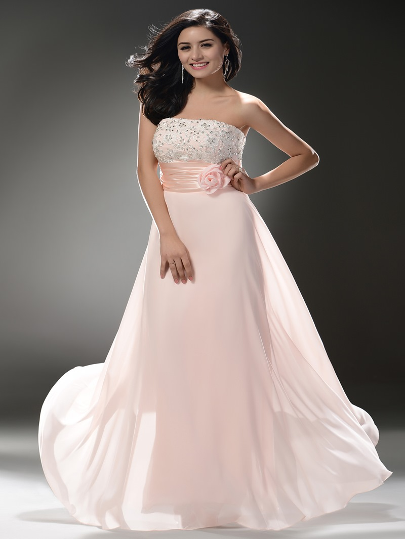 Strapless Beaded Empire Column Shape Floor Length Skirt with Hamdmade Flower Decoration Beautiful Prom Dress