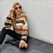 Mock Neck Drop Shoulder Striped Sweater