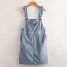 Einfarbiges Cord Kleid mit Kaenguru Tasche
