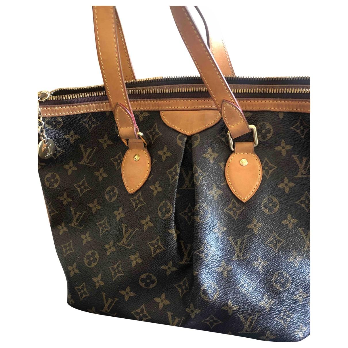 Louis Vuitton Palermo Handtasche in  Braun Leinen