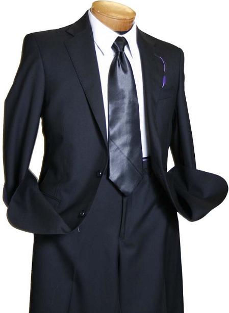 Mens Black 2 Button Wool Italian Design Suit