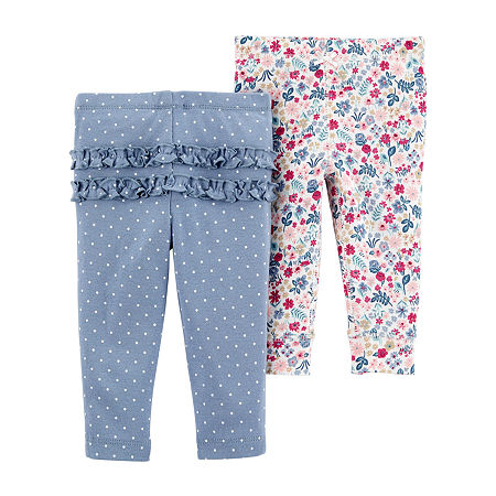 Carter's Little Baby Basic Baby Girls 2-pc. Skinny Pull-On Pants, 6 Months , Multiple Colors