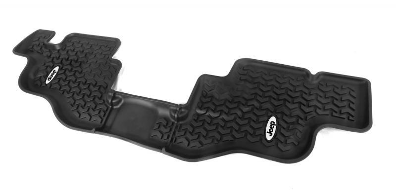 Rugged Ridge DMC-12950.22 All Terrain Floor Liner, Rear, Black, Jeep Logo; 76-95 CJ7/YJ Jeep