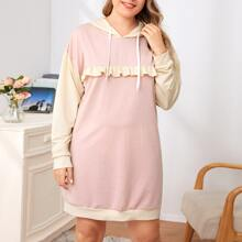 Plus Ruffle Trim Color Block Hooded Night Dress