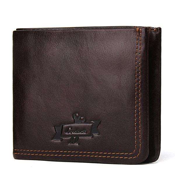 Genuine Leather Short Zipper Wallet Coin Bag For Men