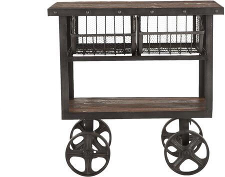 Paxton Collection ZWPX36180 36-Inch Reclaimed Teak Utility Cart with Grey Zinc Wheels in