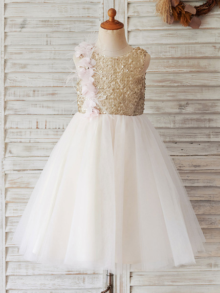 Milanoo Flower Girl Dresses Jewel Neck Tulle Sleeveless Knee-Length Princess Silhouette Kids Party Dresses