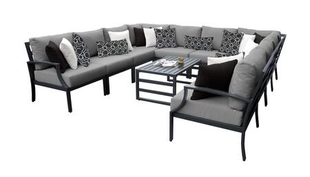 Lexington LEXINGTON-11a-GREY 11-Piece Aluminum Patio Set 11a with 1 Left Arm Chair  1 Right Arm Chair  2 Corner Chairs  6 Armless Chairs and 1 Coffee
