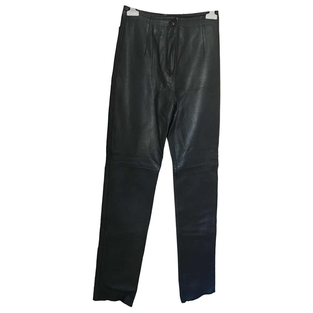 Non Signé / Unsigned \N Grey Leather Trousers for Women S International