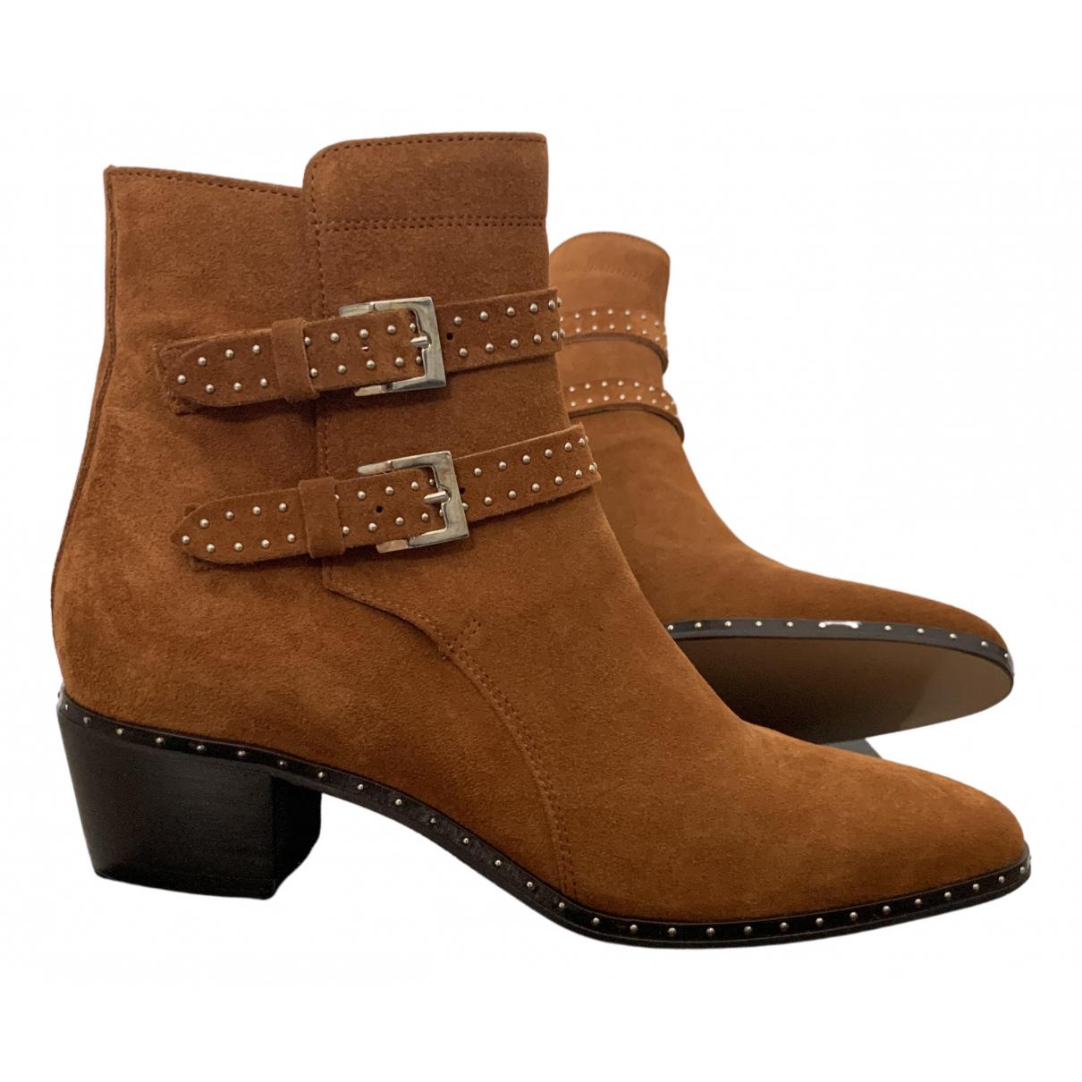 The Kooples - Boots Fall Winter 2019 pour femme en suede - camel
