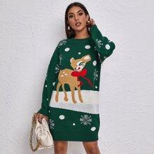 Vestido jersey con patron de navidad de hombros caidos