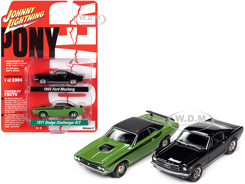 1971 Dodge Challenger R/T Green and 1965 Ford Mustang Fastback Black Set of 2 pieces