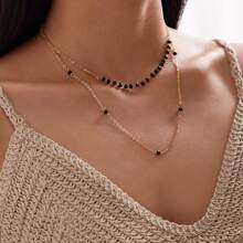 1pc Crystal Decor Layered Necklace