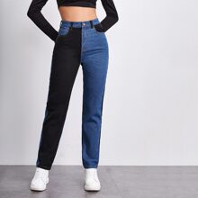 High-Rise Spliced Two Tone Jeans
