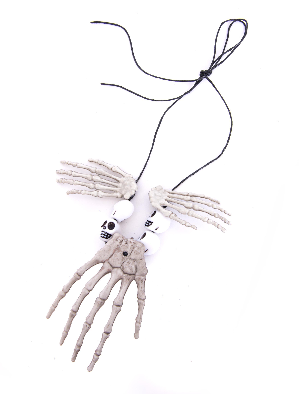 Kostuemzubehor Halskette Skeletthaende Farbe: cremeweiss